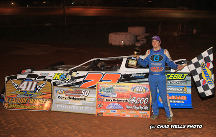 SEYMOUR, TN (March 26) - Cory Hedgecock of Loudon, TN won the Chevrolet Performance Super Late Model 2016 season opener on Saturday night at 411 Motor ...